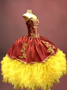Beautiful Wine Red And Yellow Sweet 16 Dress With Appliques And Ruffles
