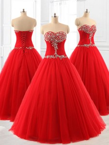 Perfect A Line Beading Tulle Quinceanera Dress