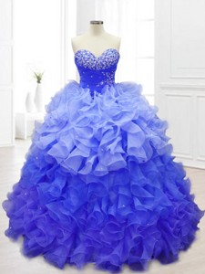 New Sweetheart Blue Quinceanera Gowns with Beading and Ruffles