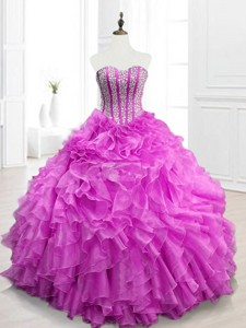 Modern Beading And Ruffles Fuchsia Quinceanera Gowns