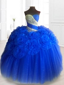 Classical Hand Made Flowers Sweet 16 Dress In Royal Blue