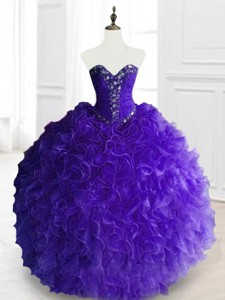 New Style Purple Sweet 16 Dress With Beading And Ruffles
