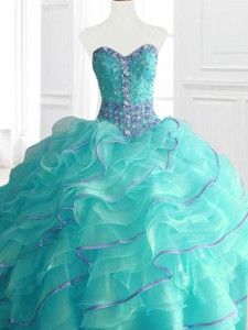 Modern Aqua Blue Sweet 16 Dress With Beading And Ruffles