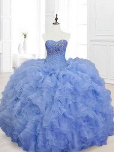 New Style Blue Sweet 16 Dress With Beading And Ruffles