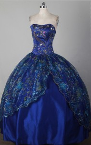 Modest Ball Gown Strapless Floor-length Blue Quincenera Dress