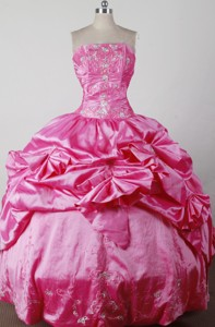 Lovely Ball Gown Strapless Floor-length Hot Pink Quincenera Dress