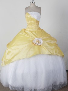 Simple Ball Gown Strapless Floor-length Yellow Quincenera Dress