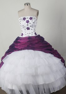 Simple Ball Gown Strapless Floor-length White And Purple Quincenera Dress