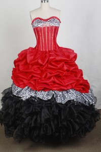 New Ball Gown Sweetheart Floor-length Red And Black Quincenera Dress