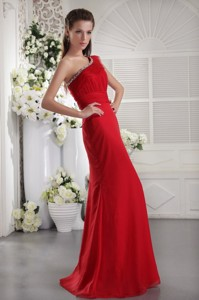 Red Column One Shoulder Floor-length Chiffon Beading and Ruch Prom / Evening Dress