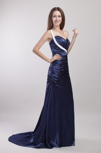 Navy Blue Column/sheath One Shoulder Brush Train Taffeta Ruch Evening Dress