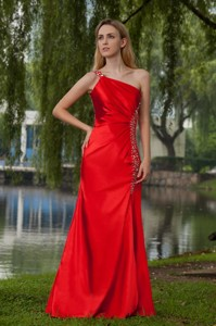 Red Empire One Shoulder Floor-length Taffeta Beading Evening Dress