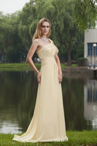 Light Yellow Empire One Shoulder Brush / Sweep Chiffon Ruch Evening Dress