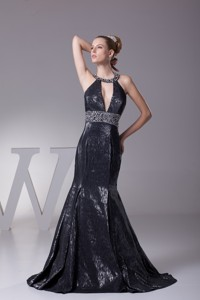 Halter Top Plunging Neckline Mermaid Prom Gown with Beaded Sash