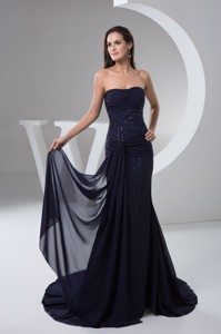 Ruched And Beaded Chiffon Prom Formal Dress In Navy Blue