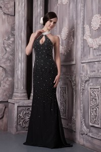 Lovely Black Column Evening Dress Halter Elastic Woven Satin Beading Brush Train