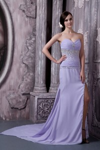 Custom Made Lilac Column Sweetheart Evening Dress Chiffon Beading Court Train