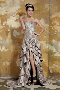 Brown Column Sweetheart High-low Taffeta and Sequin Beading Pageant Dress