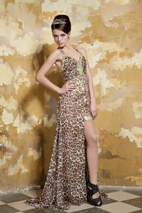 Colorful Column Halter Brush Train Leopard Beading Evening Dress