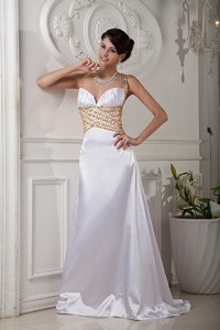 Elegant White Evening Dress Princess Straps Brush Train Satin Beading