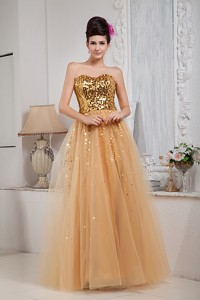 Gold Sweetheart Floor-length Tulle Sequins Prom Celebrity Dress
