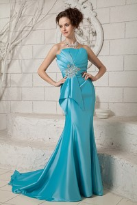 Exclusive Aque Mermaid Evening Dress Strapless Ruch And Beading Brush Train Satin