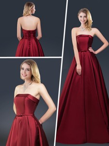 Winter Gorgeous A Line Strapless Evening Dress With Brush Train