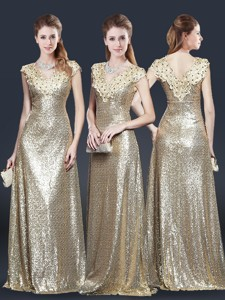 Perfect V Neck Sequins Evening Dress In Champagne