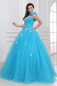 Aqua One Shoulder Appliques Quinceanera Dress