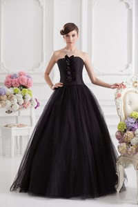 Simple Strapless Tulle Black Quinceanera Dress With Ruffles