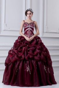 Spaghetti Straps Organza Beading And Appliques Burgundy Quinceanera Dress