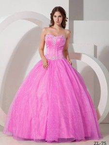 Sweetheart Floor-length Satin and Organza Appliques with Beading Quinceanera Dress