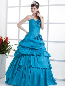 Teal Quinceanera Dress Sweetheart Hand Made Flowers and Ruffled Layeres