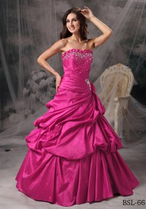 Princess Strapless Hot Pink Taffeta Beading Quinceanera Dress