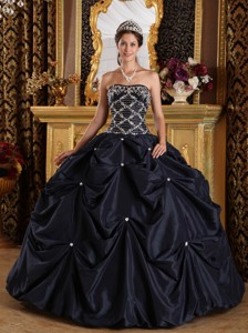 Black Ball Gown Strapless Floor-length Beading Taffeta Quinceanera Dress