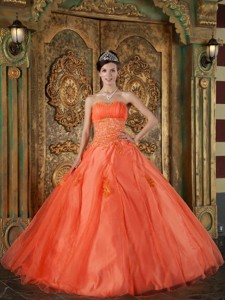 Orange Red Ball Gown Sweetheart Floor-length Organza Appliques Quinceanera Dress
