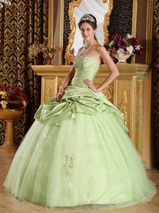 Yellow Green Ball Gown Strapless Floor-length Tulle and Taffeta Beading Quinceanera Dress