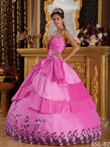 Hot Pink Ball Gown Sweetheart Floor-length Taffeta Appliques Quinceanera Dress