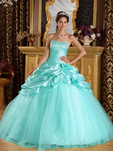 Baby Blue Ball Gown Floor-length Taffeta and Tulle Beading Quinceanera Dress