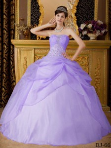 Lilac Ball Gown Strapless Floor-length Organza Beading Quinceanera Dress