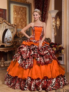 Orange Red Ball Gown Strapless Floor-length Taffeta and Leopard Pick-ups Quinceanera Dress