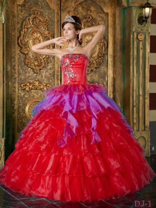 Red Ball Gown Strapless Floor-length Organza Ruffles Quinceanera Dress