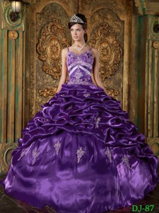 Purple Ball Gown Strap Floor-length Taffeta Beading Quinceanera Dress