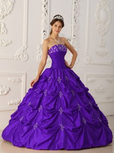 Eggplant Purple Ball Gown Strapless Floor-length Taffeta Appliques and Beading Quinceanera Dress
