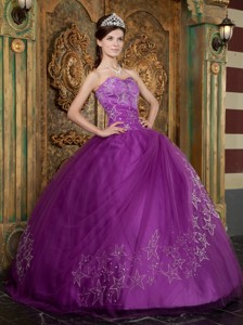 Purple Ball Gown Sweetheart Floor-length Appliques Tulle Quinceanera Dress
