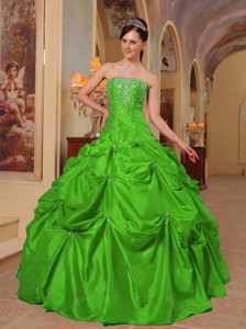 Green Ball Gown Strapless Floor-length Taffeta Beading and Embroidery Quinceanera Dress