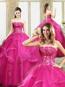 Classical Strapless Fuchsia Sweet 16 Dress With Appliques