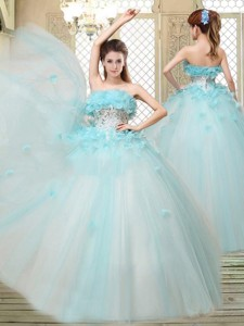 Beautiful Strapless Quinceanera Dress With Appliques And Ruffles