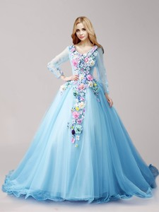 Wonderful V Neck Long Sleeves Hand Made Flowers Quinceanera Dress With Brush Train