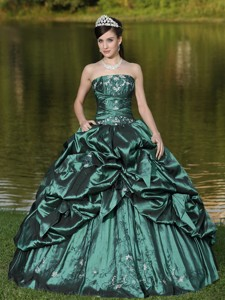 Custom Size Strapless Quinceanera Dress Beaded Decorate With Green